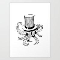 Squid Is Lost In Hat Art Print