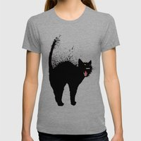 black cat Womens Fitted Tee Tri-Grey SMALL