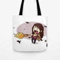 Bird Flaming Tote Bag