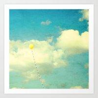 Yellow Balloon Love Art Print
