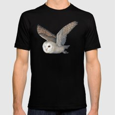 Barn Owl at Night SMALL Black Mens Fitted Tee