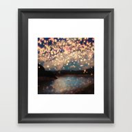 Framed Art Print featuring Love Wish Lanterns by Paula Belle Flores