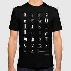 Typerfaces A-Z  SMALL Mens Fitted Tee Black