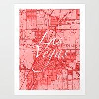 Vintage Las Vegas Red Art Print