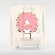 donut loves coffee Shower Curtain