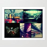 Trains Collage Art Print