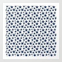 Blue stars on white background illustration Art Print