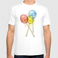 Lollipop Candy Watercolo… Mens Fitted Tee White SMALL
