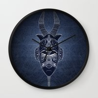 Horned Tribal Mask (colo… Wall Clock
