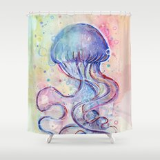 Jellyfish Watercolor Shower Curtain