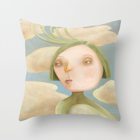 Green Crested Ladytoo Throw Pillow