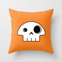 Mushroom Skull Throw Pillow