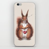 Squirrel heart love iPhone & iPod Skin