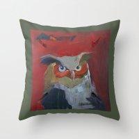 Great Horned Owl pillow Throw Pillow