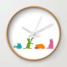Cats Multicolor Wall Clock