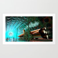 Steam Train Punk Art Print