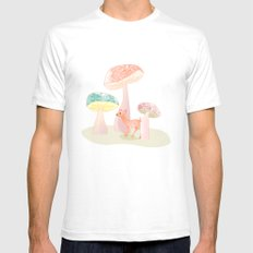 Mushrooms trees Mens Fitted Tee White SMALL