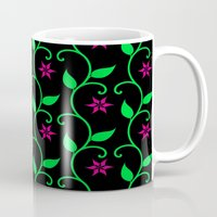 Pink Flowers And Green V… Mug
