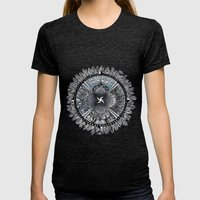 the south, she waits Womens Fitted Tee Tri-Black SMALL