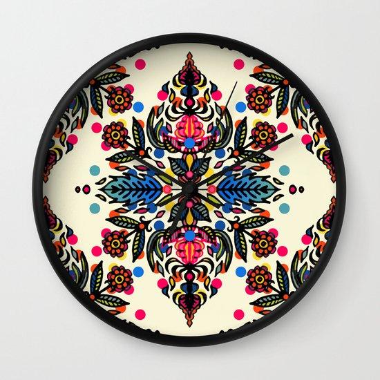 Bright Folk Art Pattern - hot pink, orange, blue & green Wall Clock