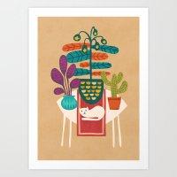 Indoor Garden With Cat Art Print