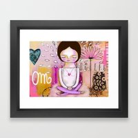 Om Meditation Woman Framed Art Print