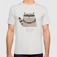 Sneaky Raccoon Mens Fitted Tee Silver SMALL