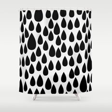 Black drops Shower Curtain