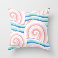 Pastel Auspicious Waves Throw Pillow