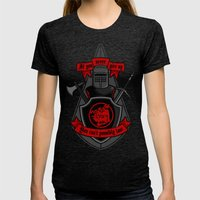 Never Give Up Womens Fitted Tee Tri-Black SMALL