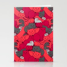 Purrrfect Pattern (Red) Stationery Cards