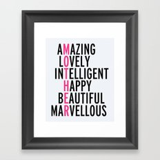 Mother Quote Framed Art Print