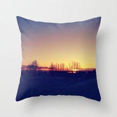 Winter Sets Throw Pillow