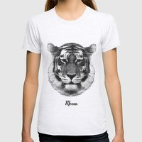 TIGER SAYS MEOW Womens Fitted Tee Ash Grey SMALL