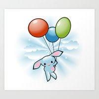 Cute Little Blue Bunny Flying With Balloons Art Print