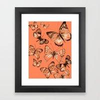Coral butterflies Framed Art Print