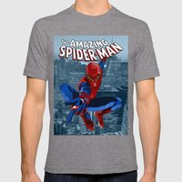 Amazing Spider-Man (Comic Title) Mens Fitted Tee Tri-Grey SMALL