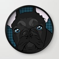Black Frenchie Wall Clock