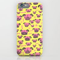 iPhone & iPod Case featuring Pug Life  - Yellow and pink by Lupo Manaro