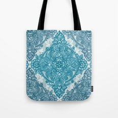 Teal & White Lace Pencil Doodle Tote Bag