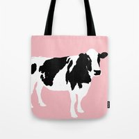 Cow On Pink Tote Bag