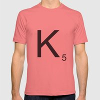 Scrabble K Mens Fitted Tee Pomegranate SMALL
