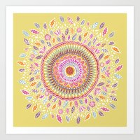 Yellow Sunflower Mandala Art Print