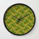 Flowers Green Pattern Wall Clock