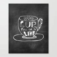 Cup Full Of Love Chalkbo… Canvas Print