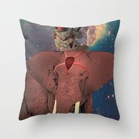 astronaut and elephant Throw Pillow