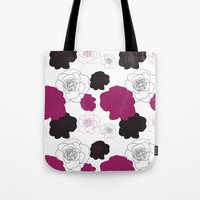 Black and Pink Roses on White Tote Bag