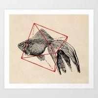 fish Art Prints featuring Fish In Geometrics III by Florent Bodart / Speakerine