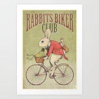 Rabbits Biker Club Art Print