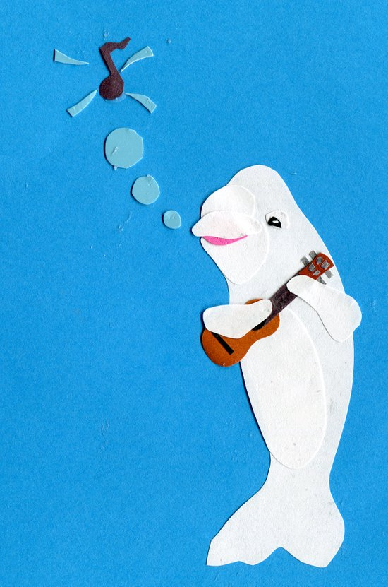 Beluga Whale Playing the Ukulele Art Print